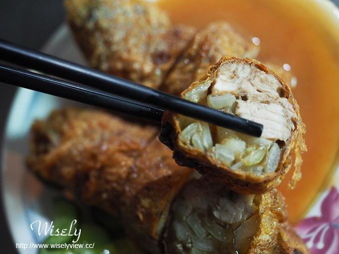 【食記】台北大同。捷運大橋頭站:延三夜市美食@葉家五香雞捲~真材食料的排隊小吃 @WISELY的拍拍照寫寫字